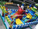 Durable Happy Clown Island Inflatable Fun City Commercial Bouncers With Big Playground