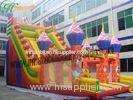 Huge Colorful Castle Commercial Inflatable Slide 0.55mm 1000d , 18 OZ PVC Tarpaulin