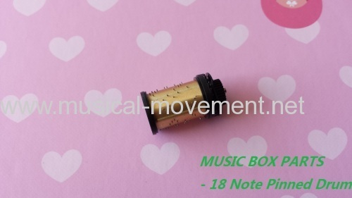 Handcrank Music Box Movement Parts 18 Note Pinned Drum