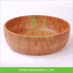Round Salad Bamboo Bowl with Carbonized Color