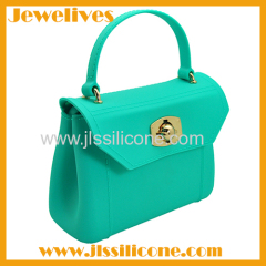 Lock style silicone shoulder and hand bag
