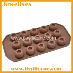 3D round pentagon shape silicone chocolate mold