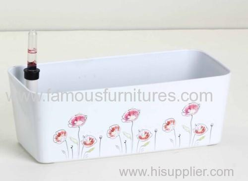 rectangular plastic flower pot with printing