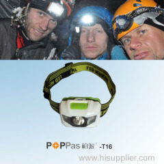 Hot Promotion Waterproof 1W High Power LED Headlamp POPPAS- T16