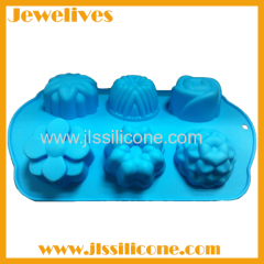 Silicone six different flower shape cavities cake mold