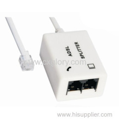 Rj11 Telephone Modem ADSL Splitter With Cable