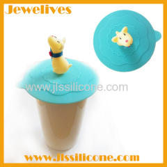 Silicone cup cover with a lovely puppy