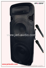 dual 15inch battery speaker with wireless microphone/lcd screen/ high power