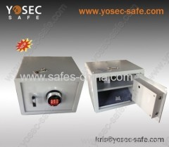 Home and office safes with illuminated time delay safe lock
