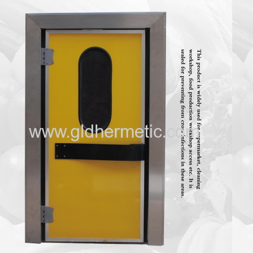 Single leaf double action swing doors with aluminum door