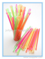 disposable colorful spoon straw matching shave ice cups