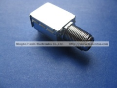 F connector with shielding box