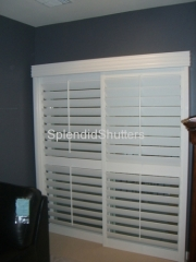 Solid Wooden Shutter Plantation Style 63mm 89mm Louver Plantation basswood Wood Shutter