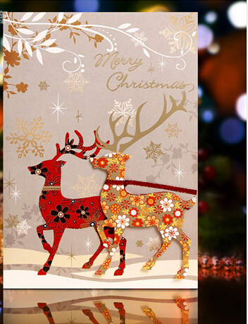Glitter Santa Deer Christmas card