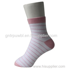 White Strips Ankle Girl's Socks