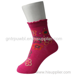 Ruffled Cuff Girl Pink Socks