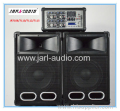 Combo wooden speakers with cabinet mixer/ 2 pcs passive wooden speakers with 1pc power mixer