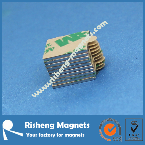 5x5x1.2mm Block Rare Earth Magnets with Strong 3M Self-AdhesiveN50 magnet strength