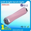 Ultra-Compact Power Bank 2600 mAh Pink Rechargeable Mobile Phone Charger with LED Torch for Mobile Devices