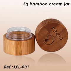 5g bamboo cream jar with engraved logo on lid