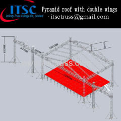 Pyramid roof with double wings for speakers and LED screen