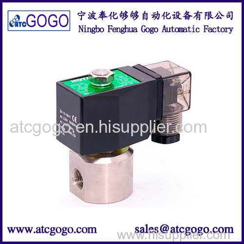 200bar 2 way stainless steel solenoid valve for air water oil