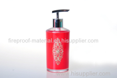 lotion bottle with a sheet of metal inside plastic bathroom ware