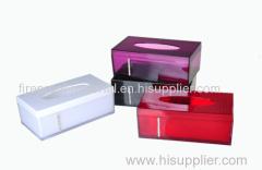 Tissue box with rhinestone plastic