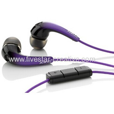 AKG K328 Premium Earbuds Portable Audio In-Ear Headphones With In-Line Mic and Volume Control Sunburst Purple