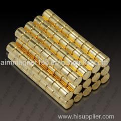 Neodymium disc magnet with gold coating