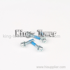 Steel blue zinc-plated machine screw