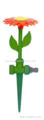 Plastic lawn flower sprinkler with spike
