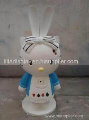 lovely cartoon animal sculpture fiberglass cat sculpture