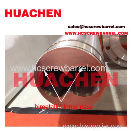 Parallel twin extruder bimetallic screw barrel