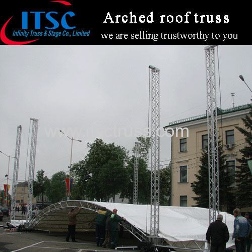 Arc roof truss system setup