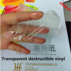 Strong transparent UDV destructible label materials