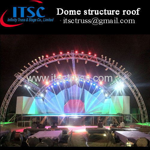 Stage lighting tunnel roof truss system