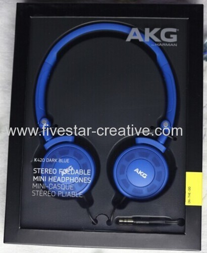 AKG K 420 Foldable Portable Dynamic Stereo Mini Headphones Dark Blue
