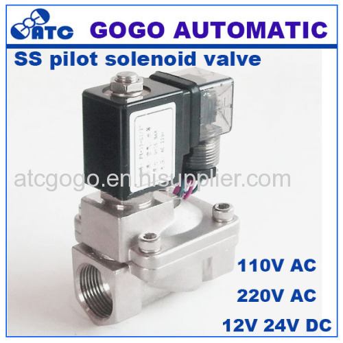2 way Pilot diaphragm submersible stainless steel solenoid valves NPT BSP thread