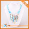 Sky Blue Tassels Pendant Handmade Bead Necklace Design