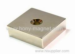 Permanent sintered neodymium magnet block