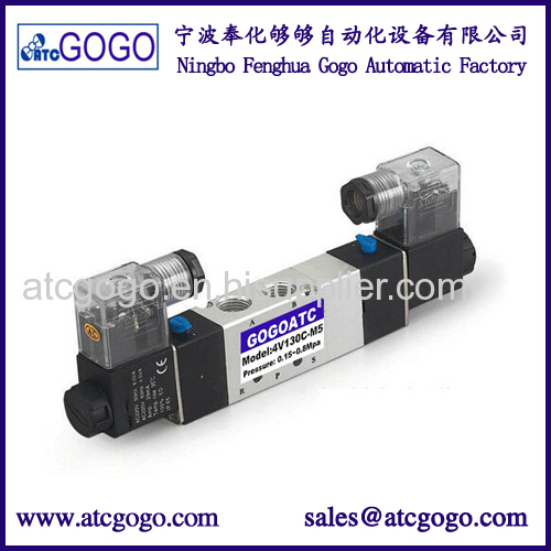 5/2 way pneumatic air solenoid valve double coil with LED right plug