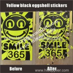Custom bright yellow smile eggshell graffitti stickers