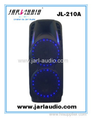 Pro plastic active battery speakers/ portable speakers with USB/SD/BT/Wireless microphones/LED