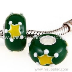Wholesale Handmade Christmas Star Glass Beads in 925 Silver Core