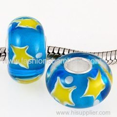 Fashion Handmade Christmas Star Glass Beads in 925 Silver Core Wholesale