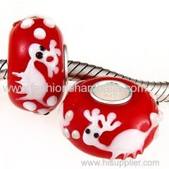 China Supplier Handmade Christmas Reindeer Glass Beads in 925 Silver Core