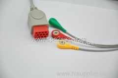 Compatible with Bionet one piece Cable with 3-lead IEC Snap leadwires