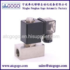 2 way stainless steel direct acting solenoid valve ss304 low pressure for gas