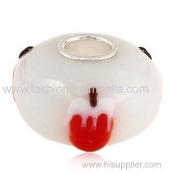 2014 Handmade Christmas Strawberry Pudding Glass Beads in 925 Silver Core